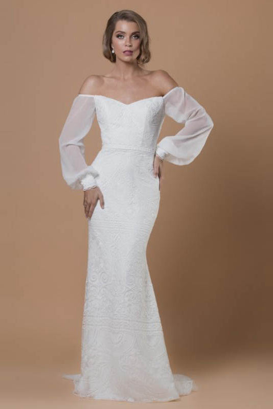 Strapless Embroidered Tulle Wedding Dresses with Silk Georgette Flared Sleeves