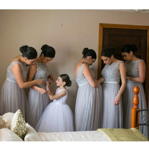Standing Out A-line Sleeveless V-back Floor-length Tulle Bridesmaid Dresses