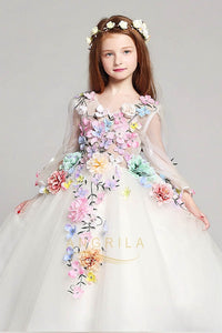 Floor-Length Long Sleeves Tulle Flower Girl Dresses