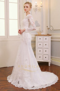 V-Neck Long Sleeves Lace Wedding Dresses