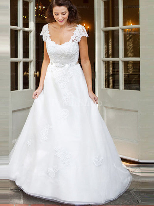 A-Line Scoop Neck Design Floor-Length Chiffon Wedding Dress