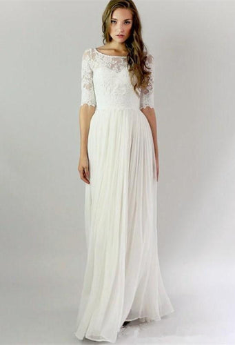 A-line 1/2 Sleeves Covered Button Floor-length Lace & Chiffon Bridal Wedding Dresses