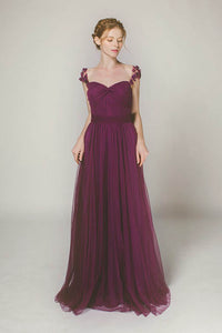 Classy Sweetheart A-Line Tulle Long Bridesmaid Dresses