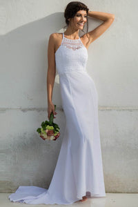 Halter Open Back Chiffon Wedding Dresses