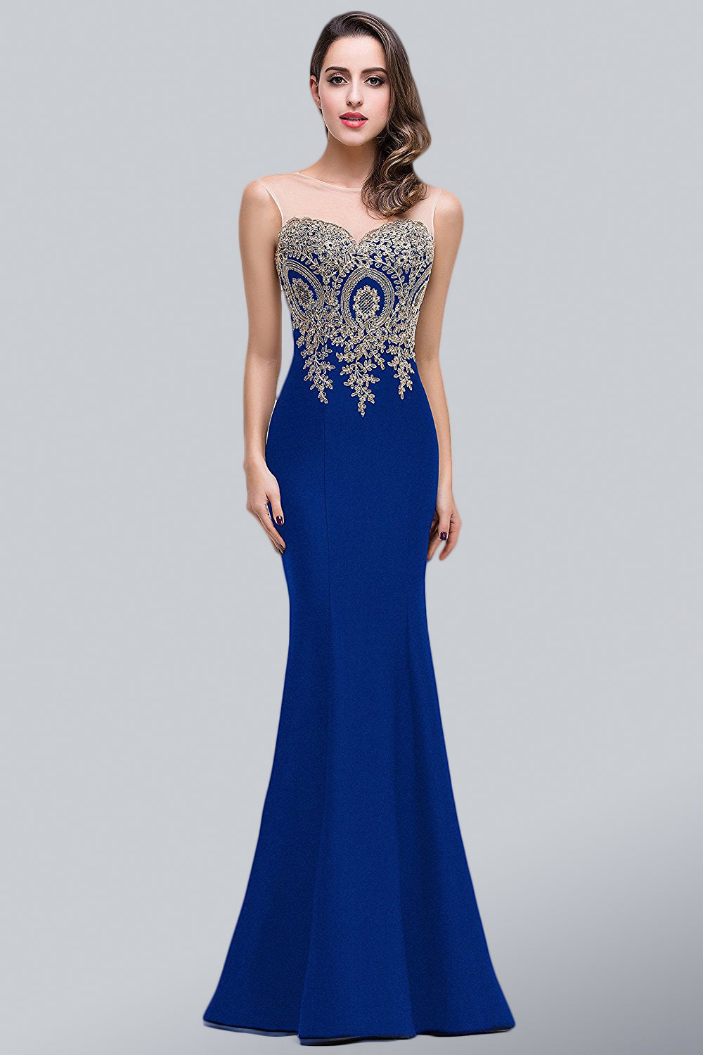 Trumpet/Mermaid Sleeveless Lace Applique Evening Dresses