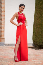 Sheath/Column Sleeveless Front Split Lace Long Halter Homecoming Dresses