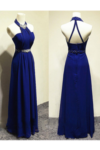 Long Halter Backless Prom Dress Evening Dress
