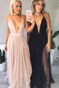 Sexy A-line Deep V-neck Criss-Cross Backless Straps Long and Tulle Prom Dresses with Slit