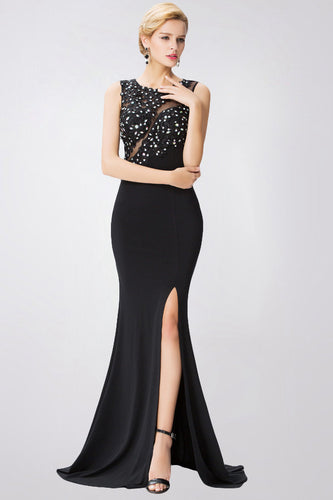 Trumpet/Mermaid Lace Applique Beading Slit Long Evening Dresses