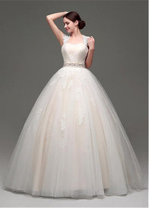 Ball Gown Sleeveless Beading Waistband Lace Applique Long Wedding Dresses