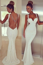 Sexy Sleeveless Spaghetti Straps Mermaid Long Evening Dresses