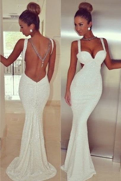Sexy Sleeveless Spaghetti Straps Mermaid Long Sequined Evening Dresses