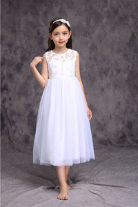 Jewel Neckline Sleeveless Organza Flower Girl Dresses