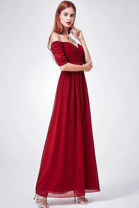 A-line Off-the-shoulder Short Sleeves Long Chiffon Bridesmaid Dresses