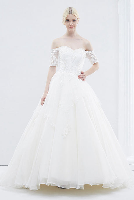 Off-the-Shoulder Sweetheart Short Sleeves Wedding Dresses