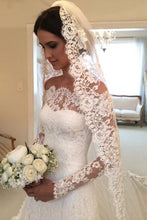 A-line/Princess Off-the-shoulder Full/Long Sleeves Lace Bridal Wedding Dresses