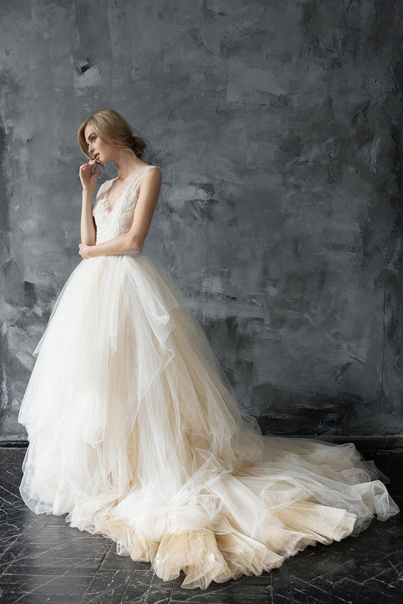 Champagne Soft Tulle & Lace Wedding Dresses with Illusion Straps
