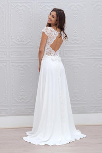 A-Line Cap Sleeves Open Back Lace Chiffon Bridal Wedding Dresses with Sweep Train