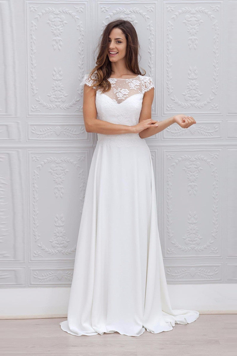 A Line Wedding Dresses.A Line Cap Sleeves Open Back Lace Chiffon Bridal Wedding Dresses With Sweep Train