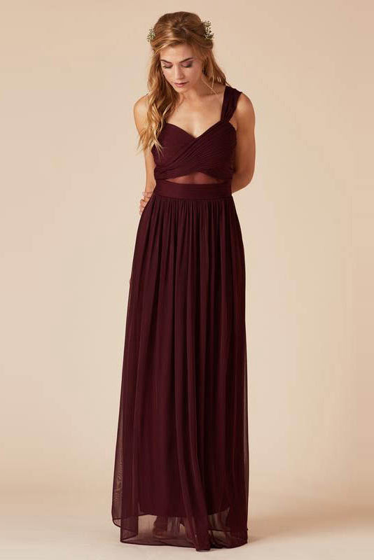 Sheath/Column V-neck Long Chiffon Bridesmaid Dresses