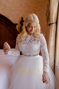 Two-Piece Lace Long Sleeves Plus Size Wedding Dresses