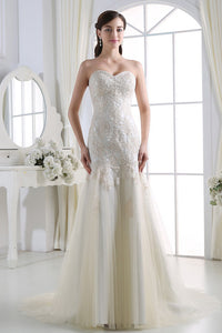 Strapless Beading Lace Appliques Long Wedding Dresses