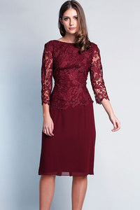 Sheath/Column 3/4 Sleeves Knee-length Lace Dresses