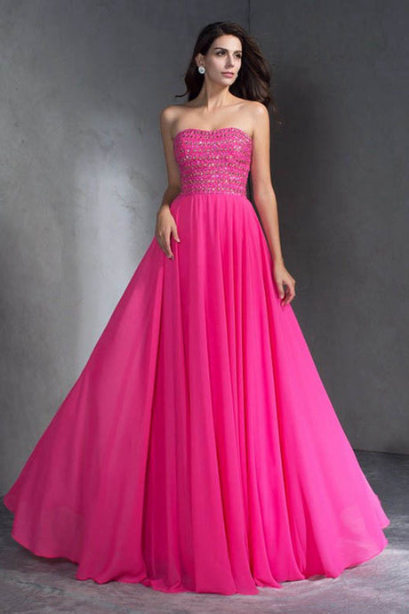 Modest Strapless Open Back Long Chiffon Prom Dresses