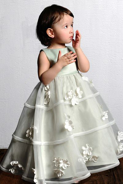 Sleeveless Organza & Satin Flower Girl Dresses