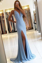 Trumpet/Mermaid V-neck Sky Blue Sweep Train Evening Dress with Split Front