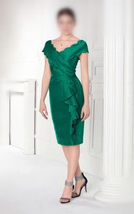 Sheath V-neck Cap Sleeves Ruffles Knee-length Mother of the Bride Dresses