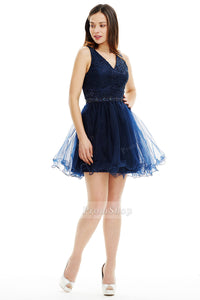 A-Line V-neck Short/Mini Tulle Chiffon Prom Dresses