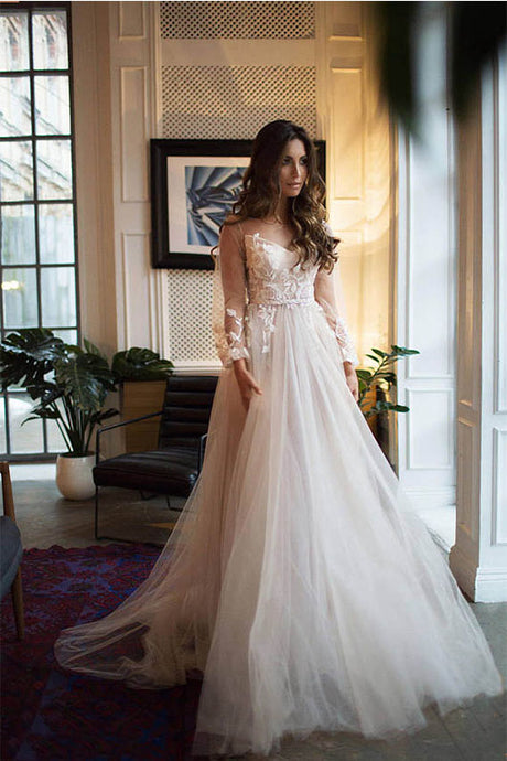 Fairytale Long Sleeves V-Neck Tulle Wedding Dresses