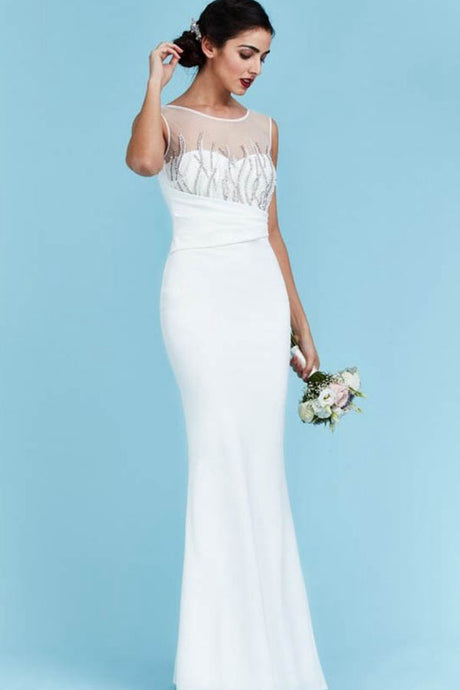 Jewel Neckline Wedding Dresses with Beaded