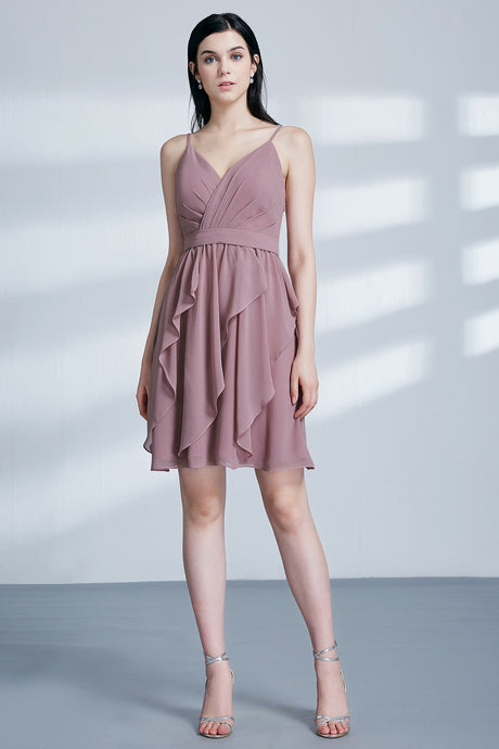 A Line Spaghetti Straps V neck Bridesmaid Dresses