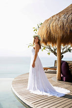 Alluring A-line/Princess Sleeveless Boho Lace Sweep Train Wedding Dresses