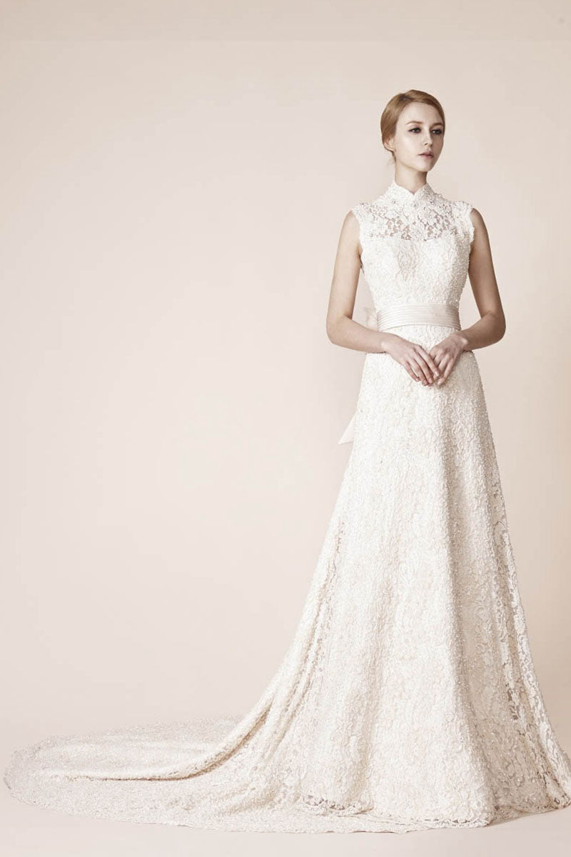 High Neck Sleeveless Lace Wedding Dresses – Angrila
