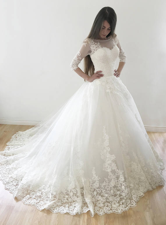 Ball Gown 3/4 Sleeves Lace Appliques Lace-up Long Wedding Dresses ...