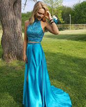 Two-Piece A-line High Neck Beading Sweep Train Satin Prom Dresses