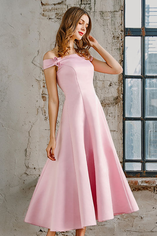 Off-the-Shoulder A-line Tea-Length Formal Prom/ Bridesmaid Dresses