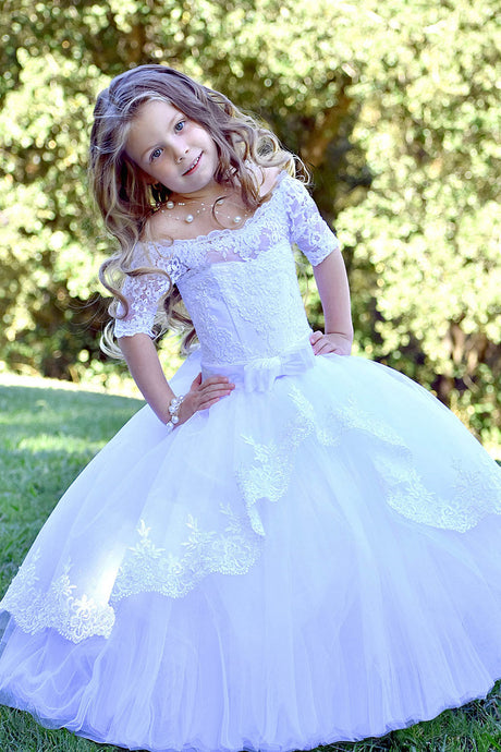 Lace-Up Off-the-Shoulder Ball Gown Flower Girl Dresses with Bow
