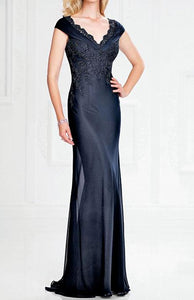 Chiffon V-Neck Mother of the Bride Dresses with Cap Sleeves