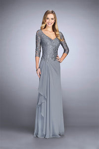 V-neck Long Sleeves Beading Mother of The Bride Dresses