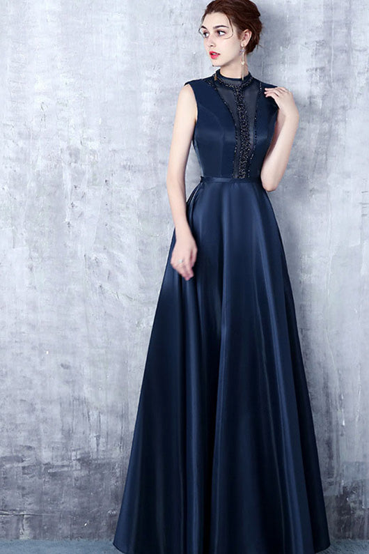 A-Line Sleeveless Beading Long Formal Prom Dresses