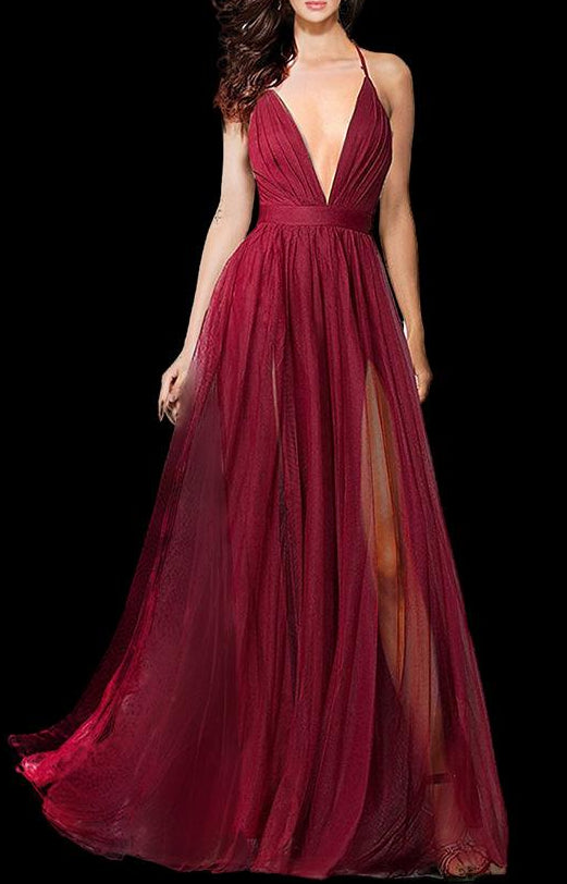 Deep V-Neck Spaghetti Straps Front Slit Tulle Evening Prom Formal