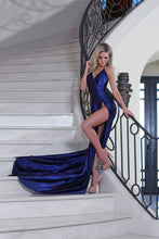 Sexy  A-line V-neck Sleeveless Backless Long Satin Evening Dresses with Front Split