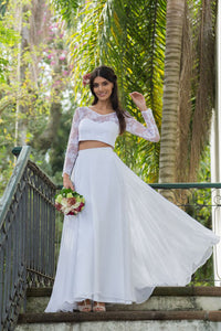 Two-Piece Lace & Chiffon Wedding Dresses with Long Sleeves