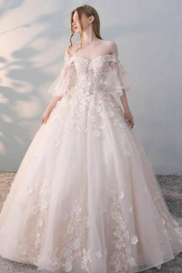 Tulle Lace Applique Ball Gown Wedding Dress