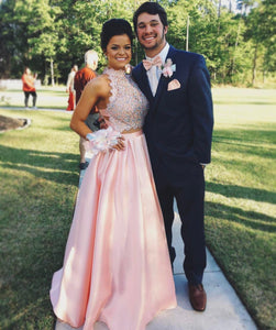 Ball Gown Sleeveless Criss-cross Beading Long Satin Prom Dresses