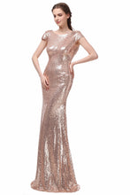 Sheath/Column Cap Sleeves Sequined Zipper Up at Side Long Bridesmaid Dresses